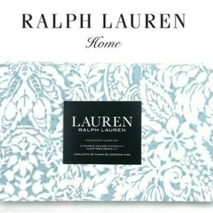 Ralph Lauren King Duvet Cover Set floral leaf